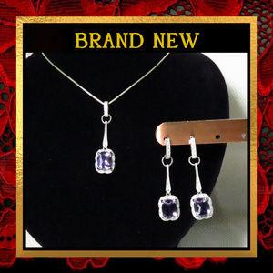 Jewelry - Amethyst Gemstone Necklace & Earring Set  #053